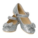 OVERSTOCKED! Silver Glitter Flats Child SIZE 1