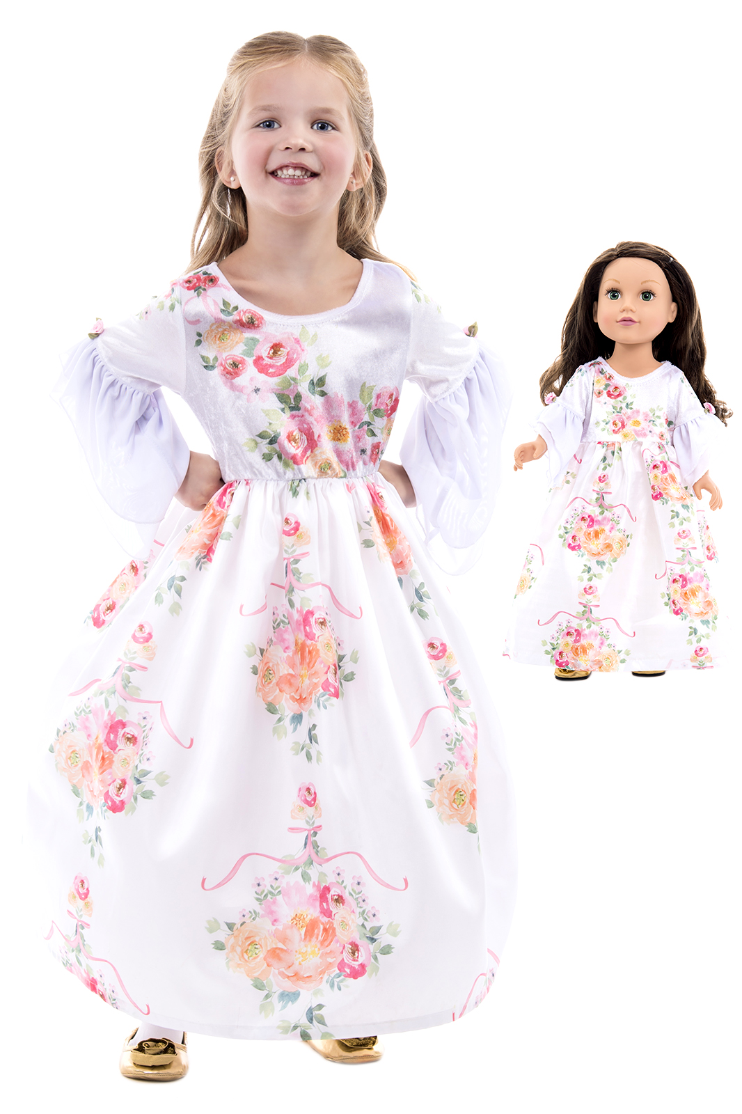 Doll Dress White Floral Beauty
