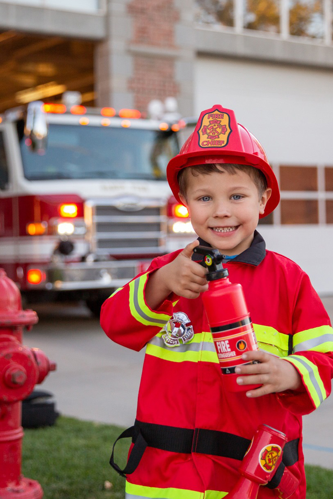 Child Deluxe RED Fire Fighter Costume