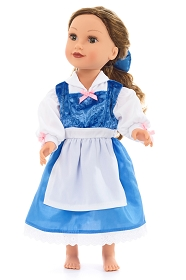 Beauty's Blue Provincial Dress for Dolls