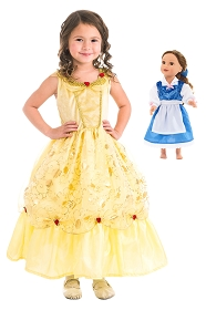 Child's Yellow and Doll's Blue Beauty Dress Set