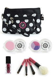 7 Piece Real Feel Play Makeup Set with Black Dot Clutch