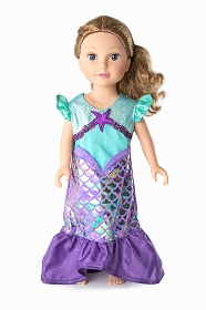 Purple Shimmer Mermaid Doll Dress