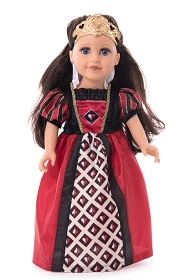 Queen of Hearts Doll Dress with Tiara