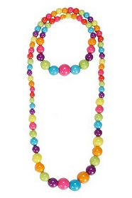 Rainbow Beaded Necklace and Bracelet Jewelry Set