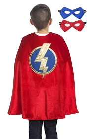 Red Hero Cape with Reversible Mask