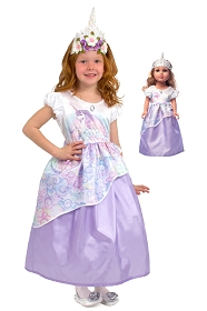 Unicorn Princess Child and Doll Dress Set