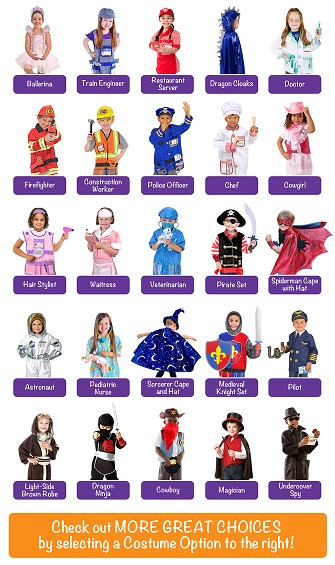 Create Your Own Pretend Play Set of 3 Costumes