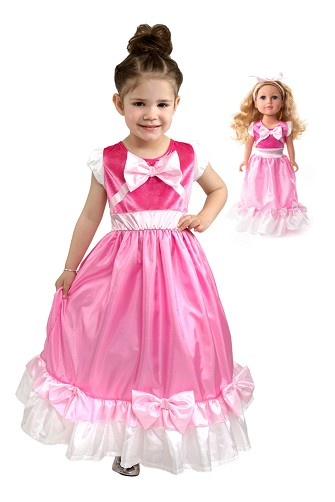 Pink Cinderelly Child and Doll Dress Set