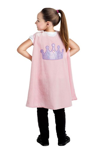 Pink Princess Crown Cape with Reversible Mask
