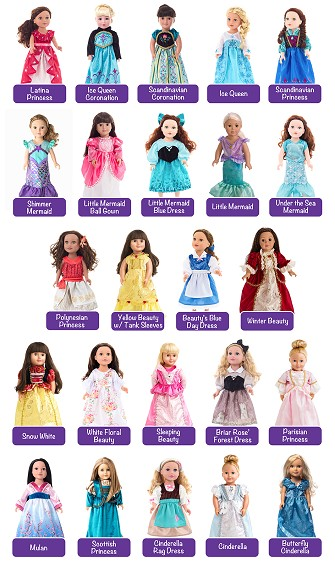 Choose 3 Doll Dress Set