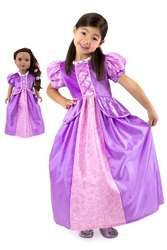 Rapunzel Child and Doll Dress Set <BR>- Short Sleeve Style