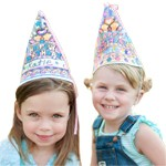 Colorable Birthday Princess Cone Hat Set of 4 with Markers