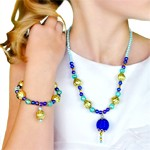 Blue and Gold Necklace and Bracelet Jewelry Set