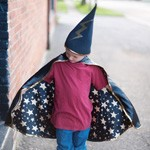 Black and Gold Reversible Wizard Cape and Hat
