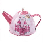 Child's Tin Castle Tea Set with Basket
