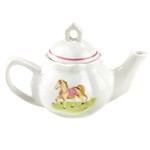 Child's Porcelain Pony Tea Set with Basket