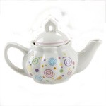Child's Porcelain Swirls Tea Set with Basket