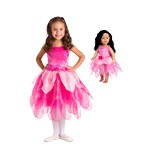 DELUXE Pink Tulip Fairy Child and Doll Costume Set