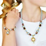 Frosty Blue and Brown Necklace and Bracelet Jewelry Set
