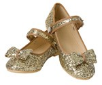 OVERSTOCKED! Gold Glitter Flats Child SIZE 1