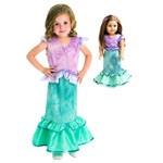 Little Mermaid 2-Piece Child and Doll Dress Set
