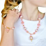 Pink and Gold Necklace and Bracelet Jewelry Set