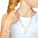 Pink and Silver Necklace and Bracelet Jewelry Set