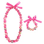 Pink Happy Thoughts Necklace and Bracelet Set