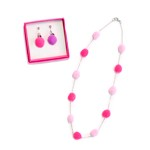Pom Pom Necklace and Clip-On Earrings Set - Rainbow or Pink