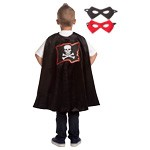 Black Pirate Cape with Reversible Mask