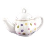 Child's Porcelain Gumdrop Tea Set with Basket