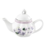 Child's Porcelain Violets Tea Set with Basket