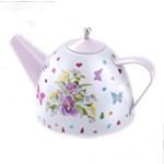 Purple Pansies Tin Tea Set with Basket