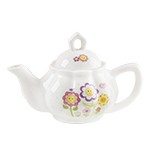 Child's Porcelain Smiley Flowers Tea Set with Basket