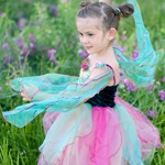 Green and Magenta Fairy Blossom Dress