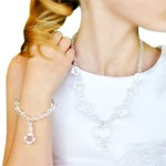 White Crystal Necklace and Bracelet Jewelry Set