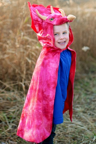 Red Triceratops Cape with Hood